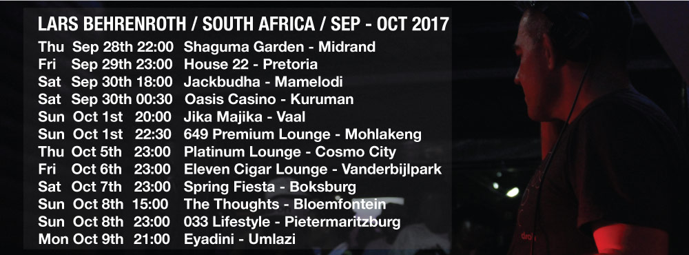 Lars Behrenroth South Africa Tour - September - October 2017