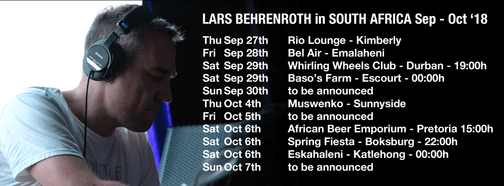 Lars Behrenroth on tour in South Africa - September - October 2018